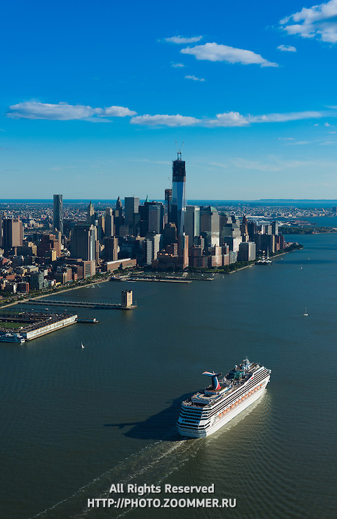 Cruise Ship In Hudson With Manhattan Skyline, New York