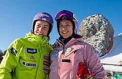 12-01-2012 SKIEN: FIS WORLD CUP: CORTINA<br /> Pista Olympia delle Tofane, Training Tina Maze (SLO) und Elena Curtoni (ITA)<br /> **NETHERLANDS ONLY** <br /> ©2012-FotoHoogendoorn.nl/EXPA/Johann Groder