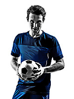 One Italian Soccer Player Man Portraits Football In Silhouette White Background