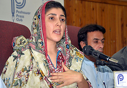 June 7, 2017 - Pakistan - PESHAWAR, PAKISTAN, JUN 07: Member National Assembly Ayesha Gulalai addressing to .media persons during a press conference at Peshawar press club on Wednesday, June 07, 2017. (Credit Image: © PPI via ZUMA Wire)