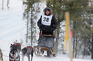 Photo Randy Vanderveen.Grande Prairie , Alberta.13-01-05.Rhonda LaValley urges her dog team through the race course as she takes part in the Four Dog -4 Mile event. The Grande Prairie Sled Dog Derby ran two days of races at Evergreen Park this past weekend, Jan. 5 and 6.