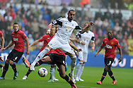 Swansea city's Chico Flores © in action. Barclays Premier league, Swansea city v Manchester Utd in Swansea, South Wales on Saturday 17th August 2013. pic by Andrew Orchard ,Andrew Orchard sports photography,