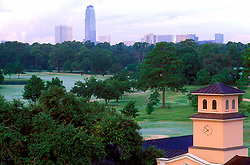 Stock photo of the Galleria skyline from Memorial Park in Houston, Texas.
