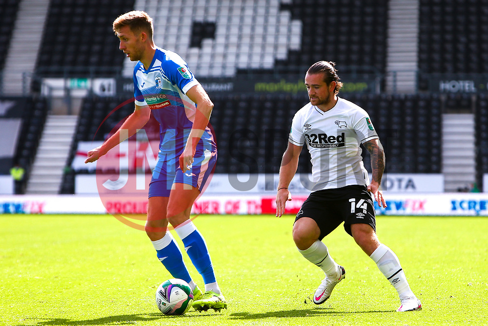 Jack Marriott of Derby County chases down James Jones of Barrow - Mandatory by-line: Ryan Crockett/JMP - 05/09/2020 - FOOTBALL - Pride Park Stadium - Derby, England - Derby County v Barrow - Carabao Cup