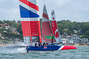 SailGP Team GBR appraoching the top mark in race one. Race Day. Event 4 Season 1 SailGP event in Cowes, Isle of Wight, England, United Kingdom. 11 August 2019: Photo Chris Cameron for SailGP. Handout image supplied by SailGP