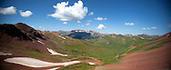 """A panoramic shot of Purity Basin looking down from West Maroon Pass. Frigid Pass is right around the """"corner"""" on the right of the shot.<br /> <br /> Please inquire about a custom canvas print of this panoramic picture using the Contact form."""