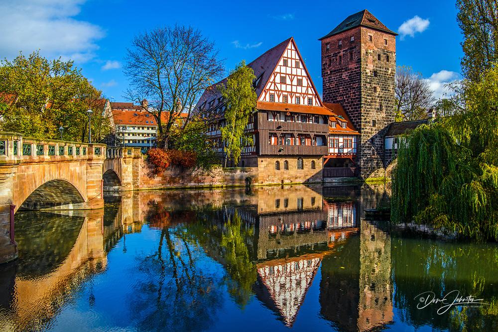 Buildings reflected in the Pegnitz River, Nuremberg, Bavaria, Germany