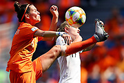 LE HAVRE, FRANCE - JUNE 11: Merel Van Dongen of the Netherlands battles for possession with Paige Satchell of New Zealand during the 2019 FIFA Women's World Cup France group E match between New Zealand and Netherlands at on June 11, 2019 in Le Havre, France.(Photo by Maddie Meyer - FIFA/FIFA via Getty Images)