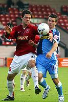 Photo: Dave Linney.<br />Walsall v Wycombe Wanderers. Coca Cola League 2. 14/10/2006.Walsall's Daniel Fox (L) beats Ian Stonebridge<br />to the ball.
