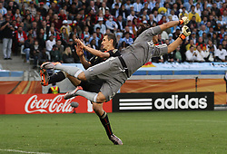 03.07.2010, CAPE TOWN, SOUTH AFRICA,  Goalkeeper Diego Pozo of Argentina gets airborne as he punches clear as Miroslav Klose of Germany misses the cross  during the Quarter Final, Match 59 of the 2010 FIFA World Cup, Argentina vs Germany held at the Cape Town Stadium EXPA Pictures © 2010, PhotoCredit: EXPA/ nph/  Kokenge
