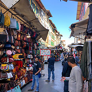 Roaming through the famous San Lorenzo Leather Market in Florence, Italy