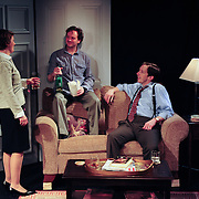 Chris Curtis (Beane), Andrew Fling (Harry), and Christine Penney (Joan), in a scene from the Harbor Light Stage production of Love Song, a play by John Kolvebnbach, directed by Kent Stephens at The Music Hall Loft in Portsmouth, NH, May, 2011