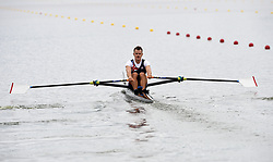 Great Britain's Samuel Mottram in the Men's Lightweight Single Sculls heat one during day one of the 2018 European Championships at the Strathclyde Country Park, North Lanarkshire.