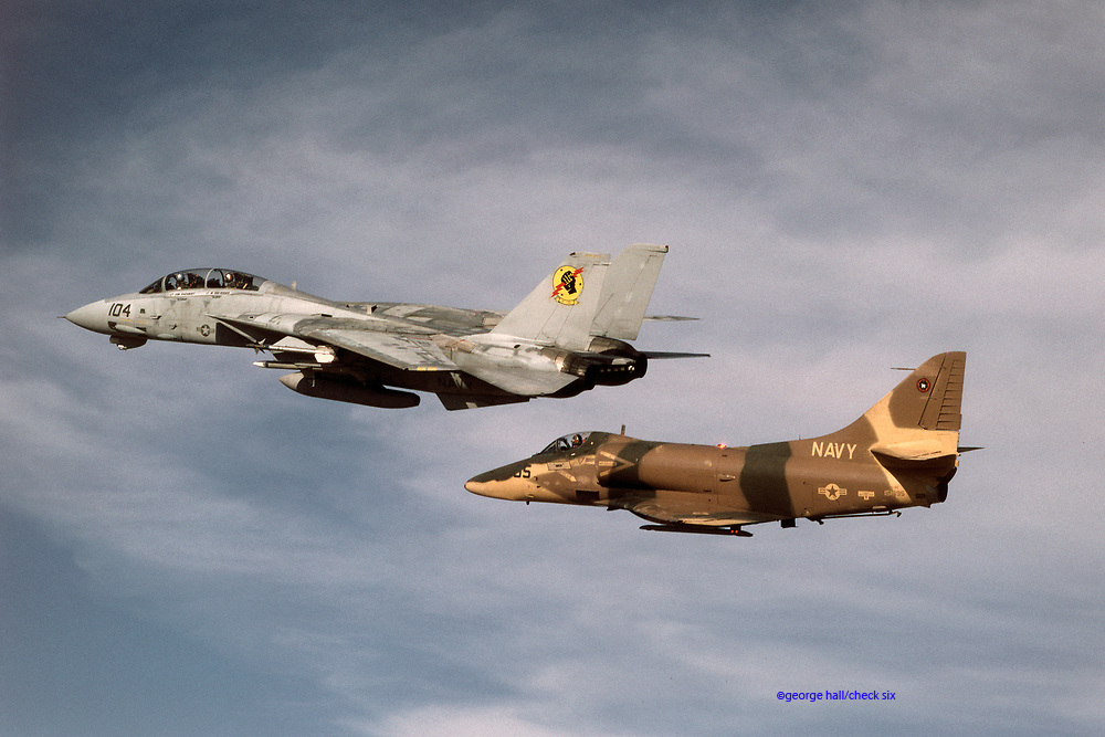 "F-14 and A-4 flown by ""Iceman"" and ""Viper""<br /> during the filming of TOP GUN"