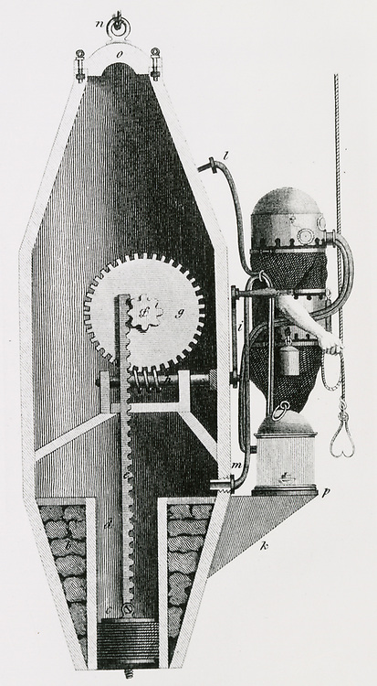 'Diving machie and suit by C.H. Klingert of Breslau, 1797. Machine essentially a reservoir of air which enabled the diver to opertate at greater depths. Engraving, c1870.'