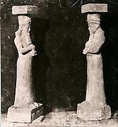 EXCLUSIVE (b/w photo) Two statues of kings or high officials located at the entrance Z of the harem of Sargon II palace, Khorsabad, Iraq, Middle East. Lost at Shatt al-Arab in 1855. Picture: Victor Place (1818 - 1875)...Additional info :..2 statues de l'entrée Z du Harem. Palais de Sargon II. Khorsabad (N.A. pl. 31 bis Profil). Perdue Chatt el Arab 1855. Profil de la deuxième statue inédit. Cliché Victor Place