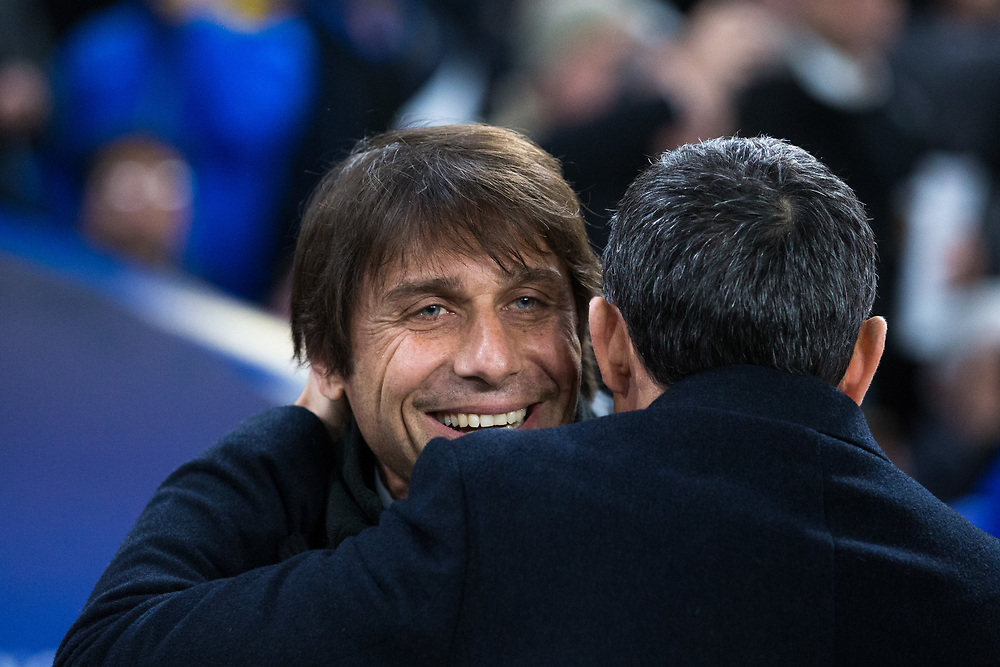 Chelsea manager Antonio Conte greets Barcelona's manager Ernesto Valverde <br /> <br /> Photographer Craig Mercer/CameraSport<br /> <br /> UEFA Champions League Round of 16 1st Leg - Chelsea v Barcelona - Tuesday 20th February 2018 - Stamford Bridge - London<br />  <br /> World Copyright © 2017 CameraSport. All rights reserved. 43 Linden Ave. Countesthorpe. Leicester. England. LE8 5PG - Tel: +44 (0) 116 277 4147 - admin@camerasport.com - www.camerasport.com