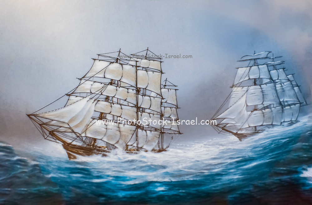 Illustration of two tall ships with full sail sailing in a rough sea