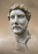 Roman portrait bust of Emperor Hadrian, 117-138 AD excavated from the S. Barbiana region near the Station Terminus, Rome. Hadrian ( Publius Aelius Hadrianus Augustus) was Roman Emperor from 117 to 138. An enthusiastic  builder Hadrian rebuilt the Pantheon and constructed the Temple of Venus and Roma as well as building Hadrian's Wall, which marked the northern limit of Roman Britain. His villa at Tivoli also showed Hadrian passion for water and Roman baths. Hadrian was regarded by some as a humanist and was philhellene in most of his tastes. He is regarded as one of the Five Good Emperors. The great love of his life was Antinous who died tragically and suspiciously when he drowned in the Nile.  The National Roman Museum, Rome, Italy<br /> <br /> If you prefer to buy from our ALAMY PHOTO LIBRARY  Collection visit : https://www.alamy.com/portfolio/paul-williams-funkystock/roman-museum-rome-sculpture.html<br /> <br /> Visit our ROMAN ART & HISTORIC SITES PHOTO COLLECTIONS for more photos to download or buy as wall art prints https://funkystock.photoshelter.com/gallery-collection/The-Romans-Art-Artefacts-Antiquities-Historic-Sites-Pictures-Images/C0000r2uLJJo9_s0