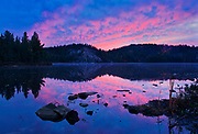 Clouds reflected in the Vermilion River at sunrise<br />Capreol<br />Ontario<br />Canada