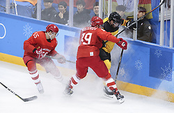 PYEONGCHANG, Feb. 25, 2018  Nikita Nesterov (C) of Olympic athletes from Russia vies for the puck during men's ice hockey final against Germany at Gangneung Hockey Centre, in Gangneung, South Korea, Feb. 25, 2018. The Olympic Athletes from Russia team defeated Germany 4:3 and won the gold medal. (Credit Image: © Han Yan/Xinhua via ZUMA Wire)