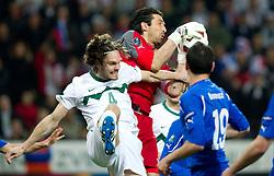 Marko Suler of Slovenia vs Gianluigi Buffon of Italy during EURO 2012 Quaifications game between National teams of Slovenia and Italy, on March 25, 2011, SRC Stozice, Ljubljana, Slovenia. (Photo by Vid Ponikvar / Sportida)
