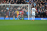 Aston Villa's Gabriel Agbonlahor scores his sides 1st goal during the Barclays Premier league, Aston Villa v Swansea city at Villa Park in Birmingham, England on Saturday 28th Dec 2013. <br /> pic by Jeff Thomas, Andrew Orchard sports photography.
