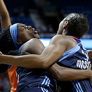 UNCASVILLE, CONNECTICUT- JUNE 3:   Tiffany Hayes #15 of the Atlanta Dream and team mate Angel McCoughtry #35 of the Atlanta Dream collide with each other while rebounding during the Atlanta Dream Vs Connecticut Sun, WNBA regular season game at Mohegan Sun Arena on June 3, 2016 in Uncasville, Connecticut. (Photo by Tim Clayton/Corbis via Getty Images)
