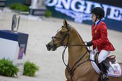 Dinan Katherine (USA) - Nougat du Vallet<br /> Longines FEI World Cup™ Jumping Final 2013/2014<br /> Lyon 2014<br /> © Dirk Caremans