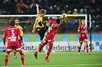 fotball, tippeliga, eliteserien, start, lillestrøm, lsk, ikstart, 13.mars, 2016<br />Kristoffer Ajer, Start<br />Bonke Innocent, Lillestrøm<br />Foto: Ole Fjalsett
