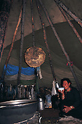 Tsaatan teepee<br /> woman is Shaman<br /> Lake Hovskol<br /> Northern Mongolia