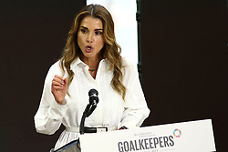 Queen Rania al Abdullah of Jordan speaks during the Bill and Melinda Gates foundation's Goalkeepers 2017 at Jazz at Lincoln Center in New York.