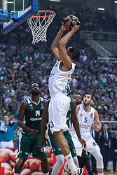 ATHENS, April 20, 2018  Anthony Randolph (Top) of Real Madrid dunks during the match between Panathinaikos and Real Madrid at basketball Euroleague playoff in Athens, Greece, on April 19, 2018. (Credit Image: © Lefteris Partsalis/Xinhua via ZUMA Wire)
