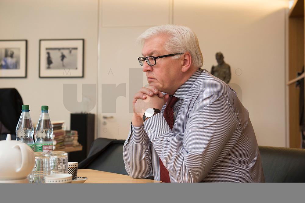 15 JAN 2013, BERLIN/GERMANY:<br /> Frank-Walter Steinmeier, SPD Fraktionsvorsitzender, waehrend einem Interview, in seinem Buero, Jakob-Kaiser-Haus, Deutscher Budnestag<br /> IMAGE: 20130115-01-005<br /> KEYWORDS: Büro