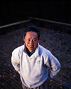 Nobuyuki Idei, President of Sony at his home in Japan.