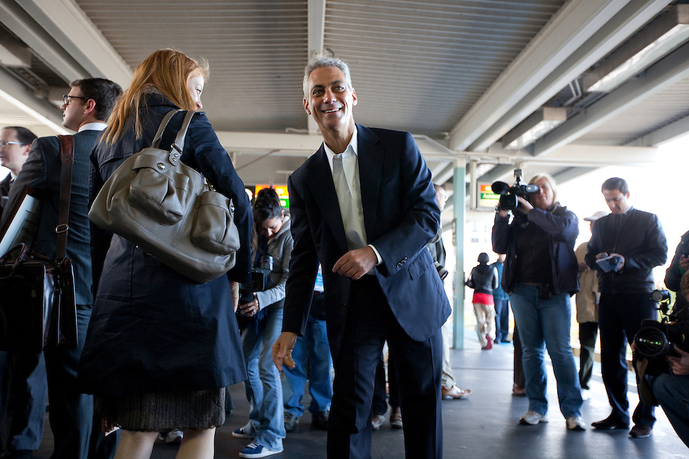Former White House Chief of Staff Rahm Emanuel meets potential voters on an El train platform as he prepares to run for Mayor of Chicago Monday morning October 4, 2010 in Chicago.