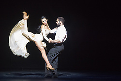 © Licensed to London News Pictures. 28/06/2014. London, UK. Playlist: a weekend of dance diversity, offering a taster of the best of Sadler's Wells taken from the programme SAMPLED. Picture features Tango Duet German Cornejo and Gisela Galeassi in Su Su. Photo credit : Tony Nandi/LNP