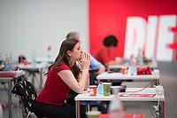 DEU, Deutschland, Germany, Berlin, 19.06.2021: Bundesparteitag der Partei DIE LINKE in den Reinbeckhallen. Janine Wissler, Co-Parteichefin und Spitzenkandidatin der Linkspartei für die Bundestagswahl.