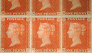"""Unused block of six """""""" postage stamps of Queen Victoria<br /> issued February 10, 1841 After a design by William Wyon British"""
