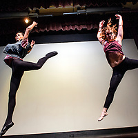 053014       Cable Hoover<br /> <br /> Larry Moore, right, and Kelly Radcliff leap together during the Foundations of Freefom World of Dance performance at El Morro Theatre in Gallup Friday.