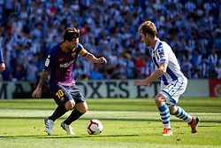 September 15, 2018 - Zurutuza of Real Sociedad and Messi of FC Barcelona in action during the match played in Anoeta Stadium between Real Sociead and FC Barcelona in San Sebastian, Spain, at Sept. 15th 2018. Photo UGS/AFP7 (Credit Image: © AFP7 via ZUMA Wire)