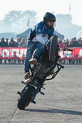 MBE International Stunt Contest during Motor Bike Expo. Verona, Italy. Saturday January 20, 2018. Photography ©2018 Michael Lichter.