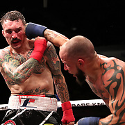 TAMPA, FL - JUNE 22: Julian Lane punches Tom Shoaff during the Bare Knuckle Fighting Championships at Florida State Fairgrounds Entertainment Hall on June 22, 2019 in Tampa, Florida. (Photo by Alex Menendez/Getty Images) *** Local Caption *** Julian Lane; Tom Shoaff