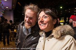 Italian pinstripe artist Blaster and Marta at the Mooneyes Yokohama Hot Rod & Custom Show after-party at Mooneyes headquarters. Yokohama, Japan. December 7, 2015.  Photography ©2015 Michael Lichter.