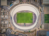 Aerial view of Hazza bin Zayed Stadium in Abu Dhabi, UAE.