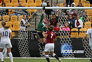 04 December 2011: Duke's Tara Campbell (1) makes a save, tipping the bal over the crossbar. The Stanford University Cardinal defeated the Duke University Blue Devils 1-0 at KSU Soccer Stadium in Kennesaw, Georgia in the NCAA Division I Women's Soccer College Cup Final.