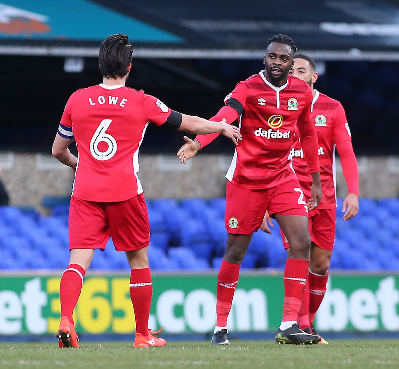 Blackburn Rovers' Hope Akpan is congratulated after scoring his sides equalising goal to make the score 1-1<br /> <br /> Photographer David Shipman/CameraSport<br /> <br /> The EFL Sky Bet Championship - Ipswich Town v Blackburn Rovers - Saturday 14th January 2017 - Portman Road - Ipswich<br /> <br /> World Copyright © 2017 CameraSport. All rights reserved. 43 Linden Ave. Countesthorpe. Leicester. England. LE8 5PG - Tel: +44 (0) 116 277 4147 - admin@camerasport.com - www.camerasport.com