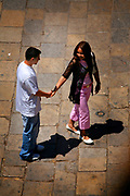 A young couple just before they part ways in the ancient medina in Fes, Morocco on Tuesday afternoon, May 29, 2007. (PHOTO BY TIMOTHY D. BURDICK)
