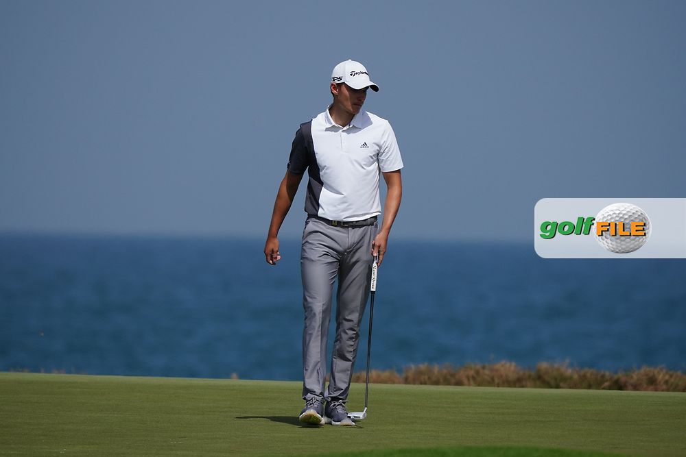 Rasmus Hojgaard (DEN) on the 9th during Round 3 of the Oman Open 2020 at the Al Mouj Golf Club, Muscat, Oman . 29/02/2020<br /> Picture: Golffile | Thos Caffrey<br /> <br /> <br /> All photo usage must carry mandatory copyright credit (© Golffile | Thos Caffrey)