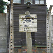 Stop sign in Auschwitz concentration camp in Poland